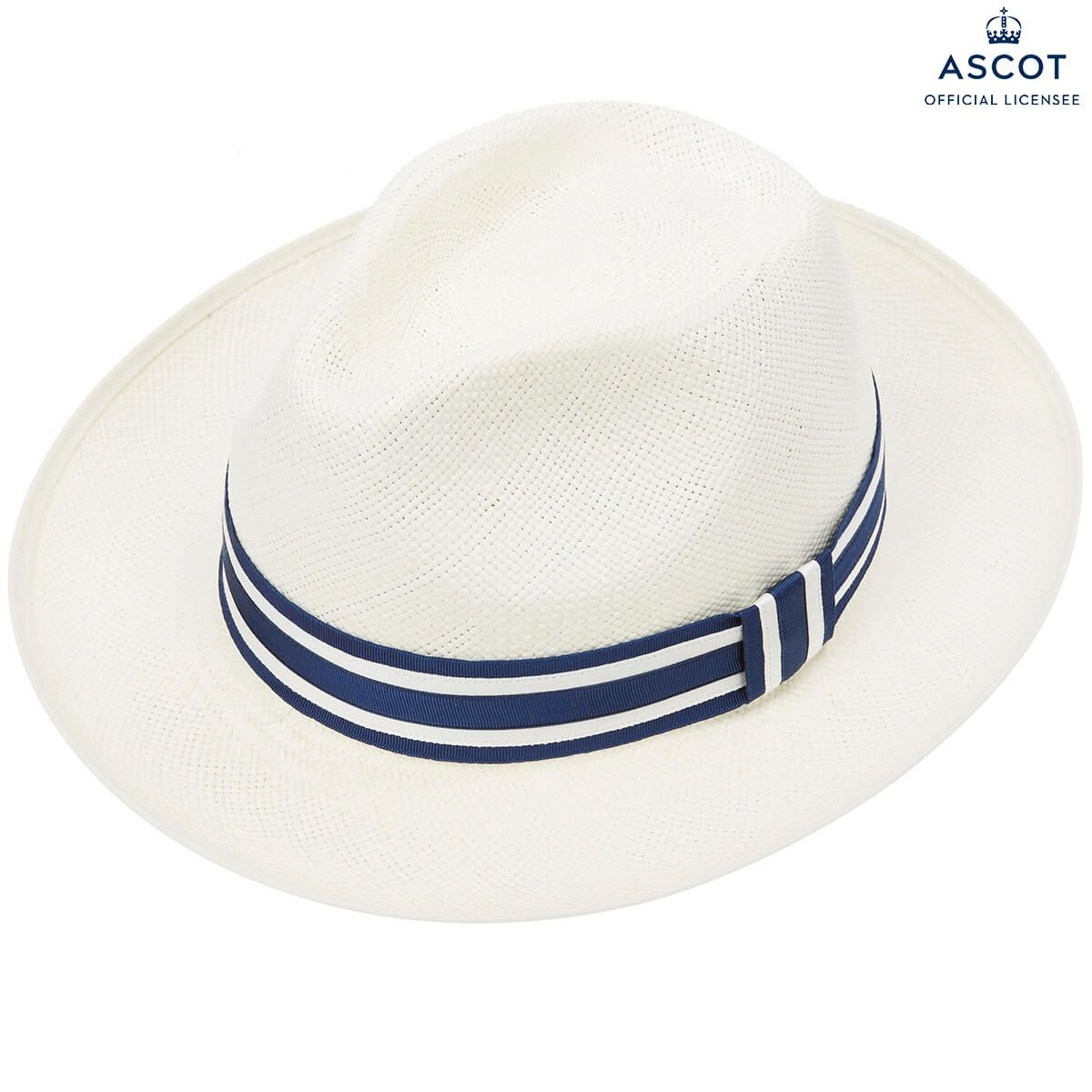 Ethan Preset Panama Hat With Navy & White Striped Band - White Bleached in size 55