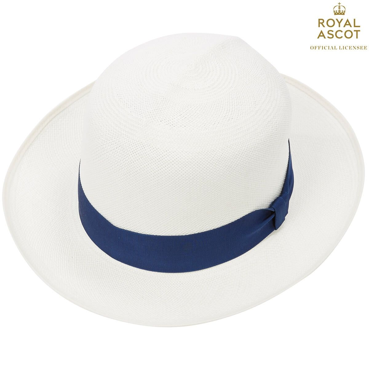 Thomas Superfine Folder Panama Hat With Navy Band - White Bleached in size 57