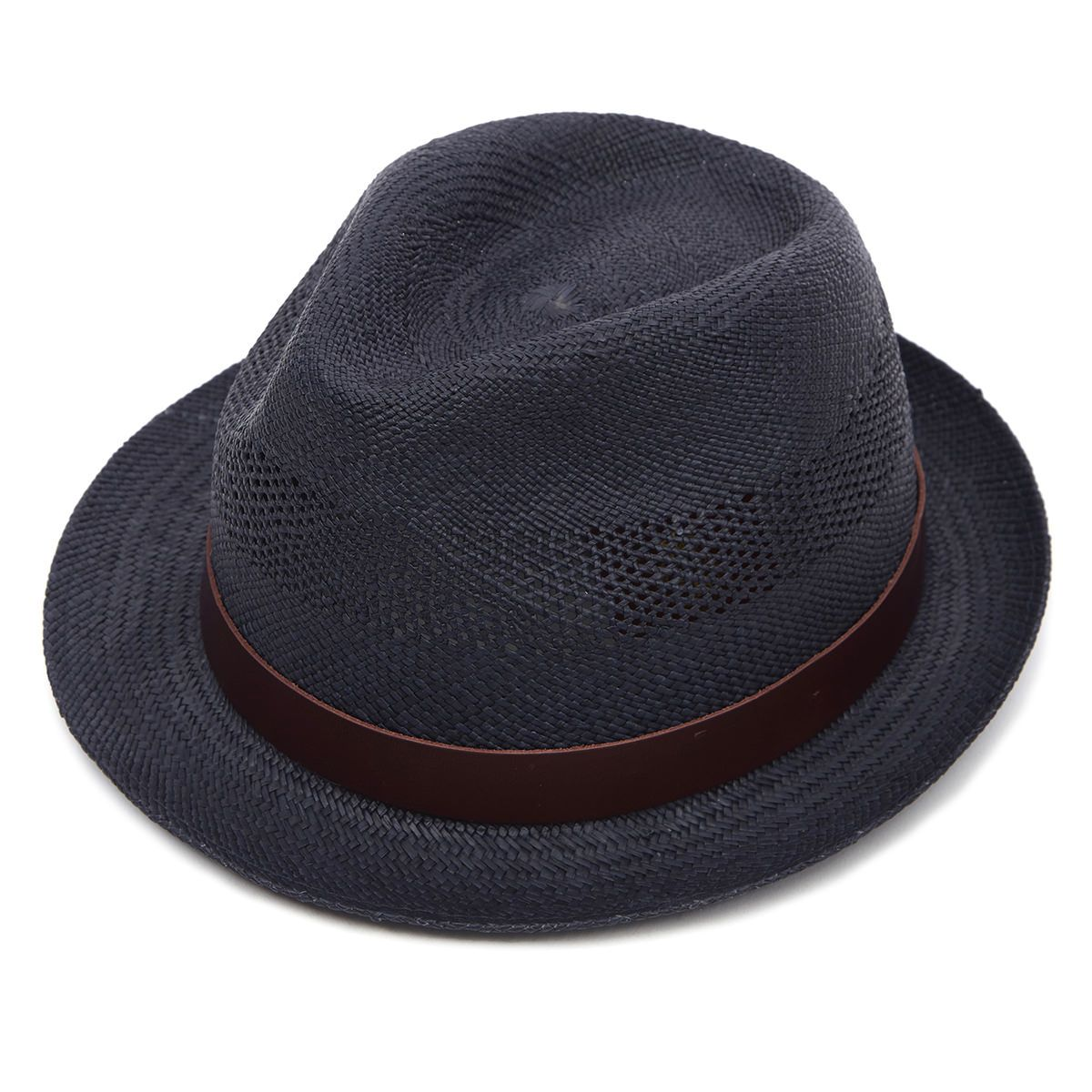 Carnaby Trilby Panama Hat - Navy Perforated 55