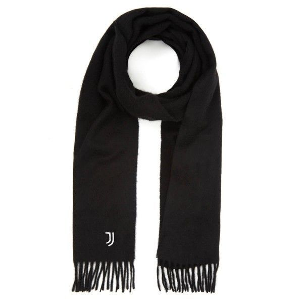 Official Juventus FC 100% Cashmere Scarf Black With White JJ Embroidery