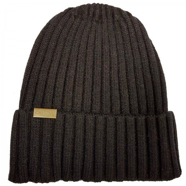 Christys Wool Blend Beanie Hat - Black