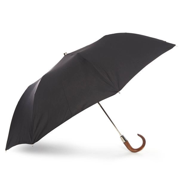 Ladies Auto Open Folding Umbrella with Scorched Maple Crook Handle