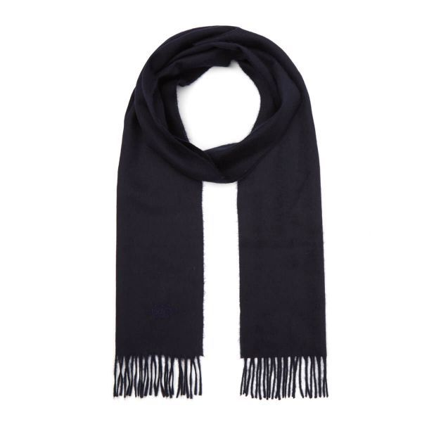 Classic Woven 100% Cashmere Scarf in Navy