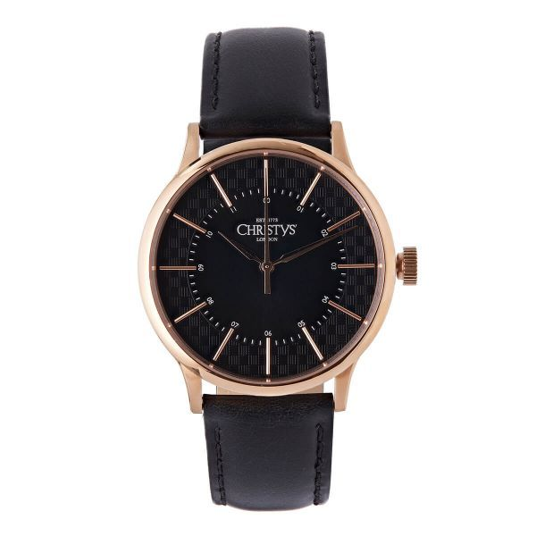 Christys Classic Compton Watch - Rose Gold ~ Black Band