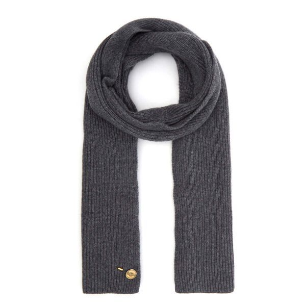 Ribbed Cashmere Scarf - Charcoal