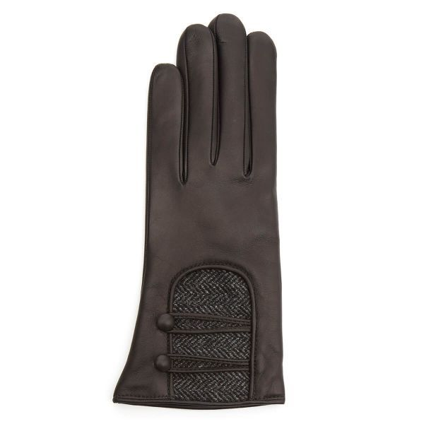 Catherine Leather Gloves With Tweed Button Detail Black