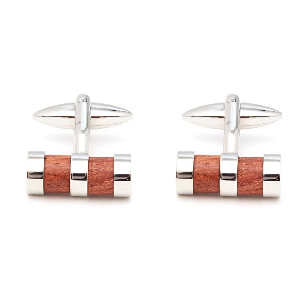 Small Wood And Rhodium Cufflinks