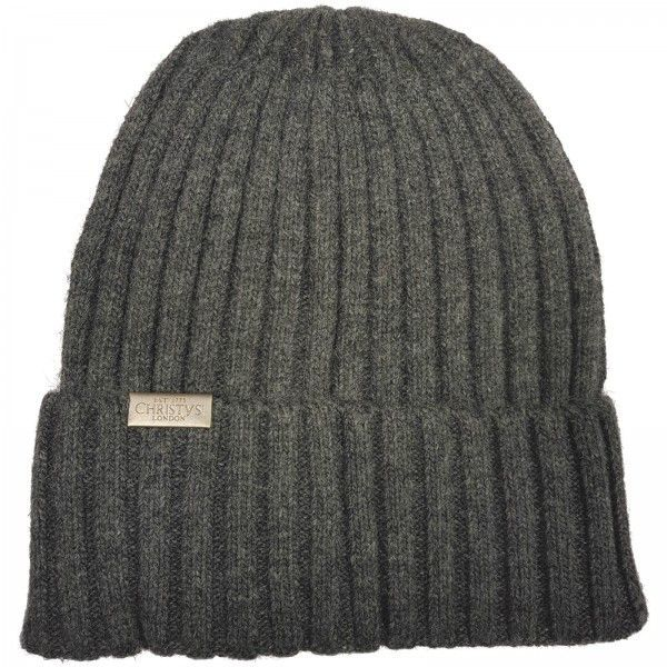 Christys Wool Blend Beanie Hat - Grey