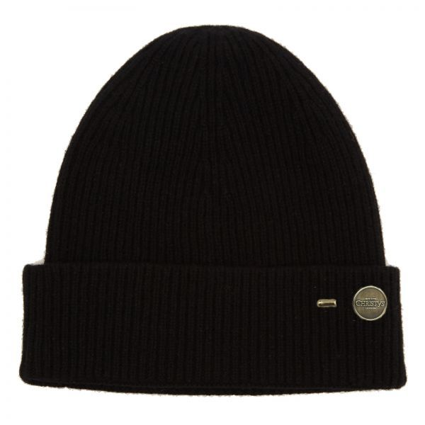 Ribbed Cashmere Beanie Hat - Black