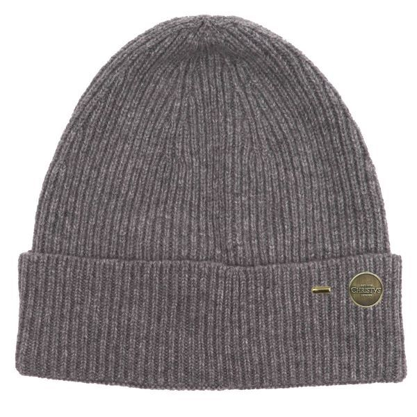 Ribbed Cashmere Beanie Hat - Charcoal