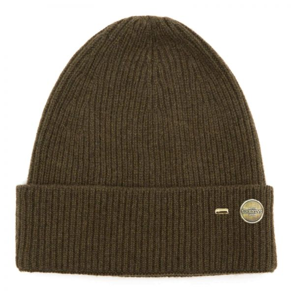 Ribbed Cashmere Beanie Hat - Khaki