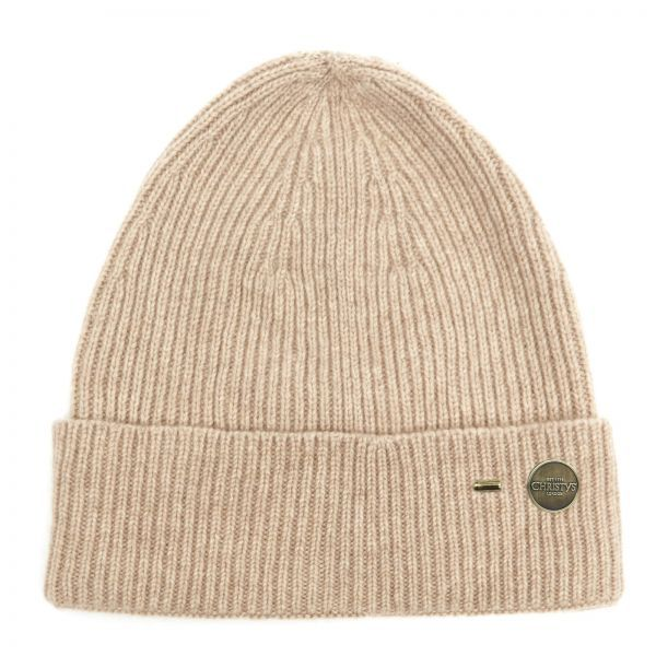 Ribbed Cashmere Beanie Hat - Sandstone