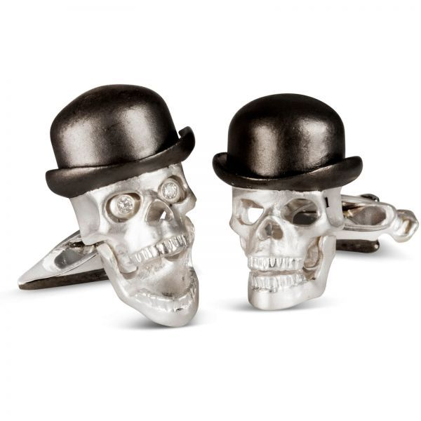 Sterling Silver Skull  With Diamond Eyes Wearing Bowler Hat Cufflinks
