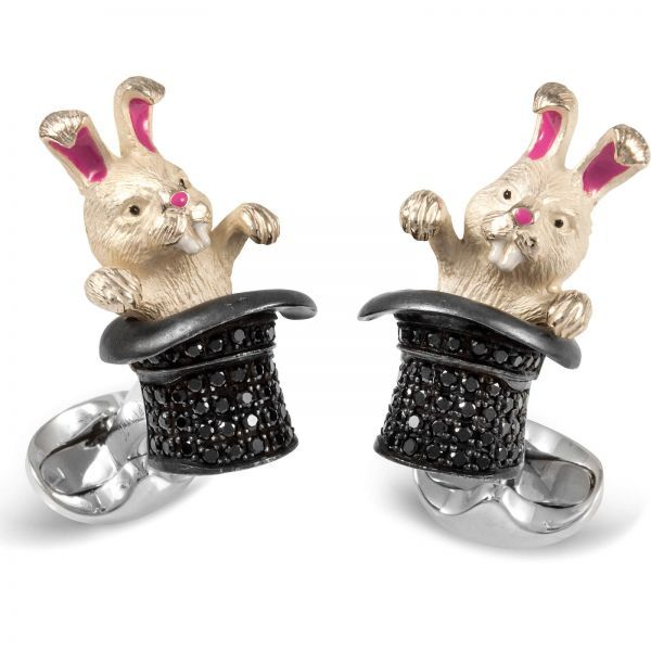 Sterling Silver Black Spinel Rabbit In Hat Cufflinks