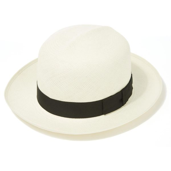 Classic Folder Panama Hat With Black Band & Cream Binding