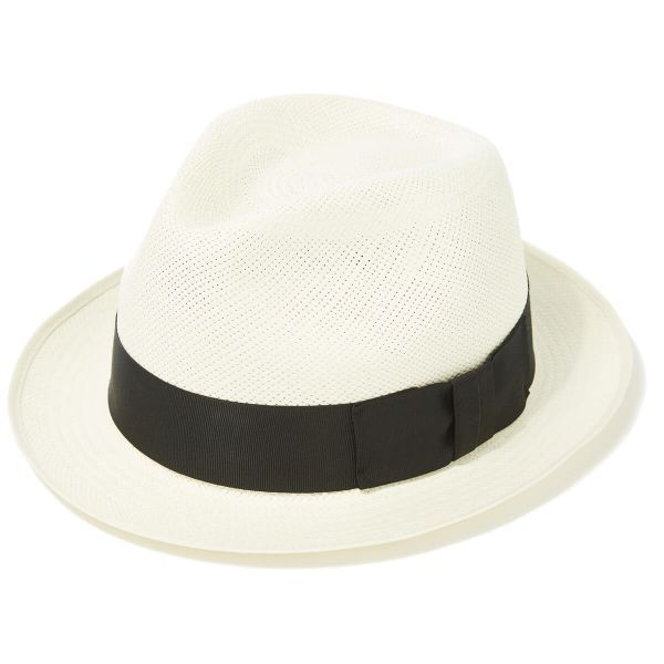 Classic Yorkie Panama Hat with Black Band & Cream Binding