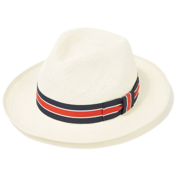 Classic Preset Regimental Panama Hat With No3 Band & Cream Binding