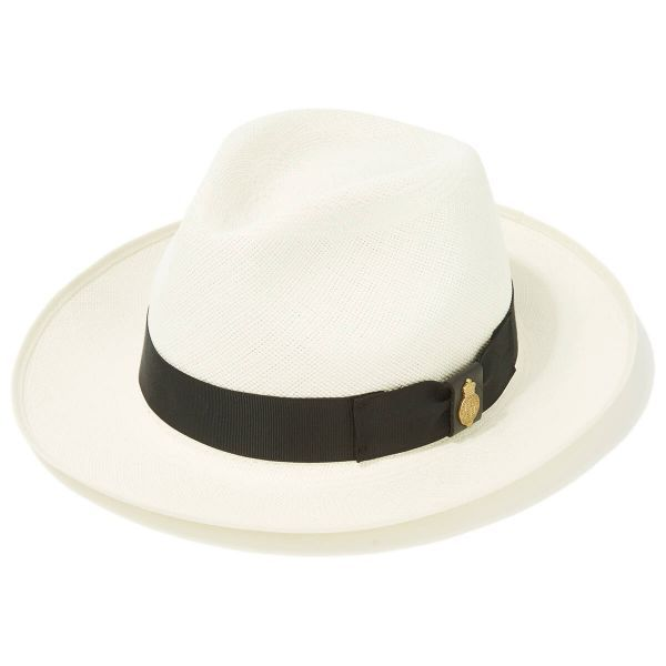 Superfine Preset Panama Hat With Black Band & Cream Binding