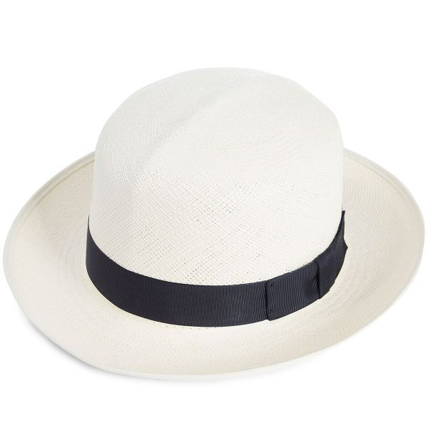 Classic Folder Panama Hat With Navy Band & Cream Binding