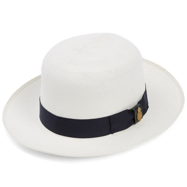 Superfine Folder Panama Hat With Navy Band & Cream Binding