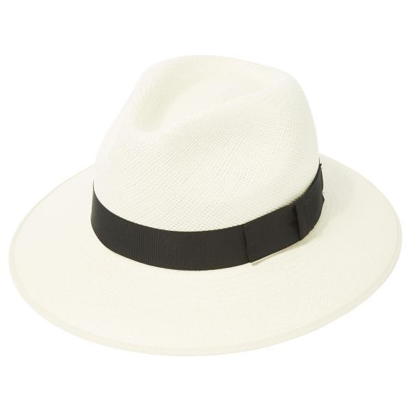 Classic Down Brim Panama Hat With Black Band & Cream Binding