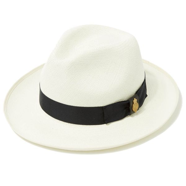 Superfine Preset Panama Hat With Navy Band & Cream Binding