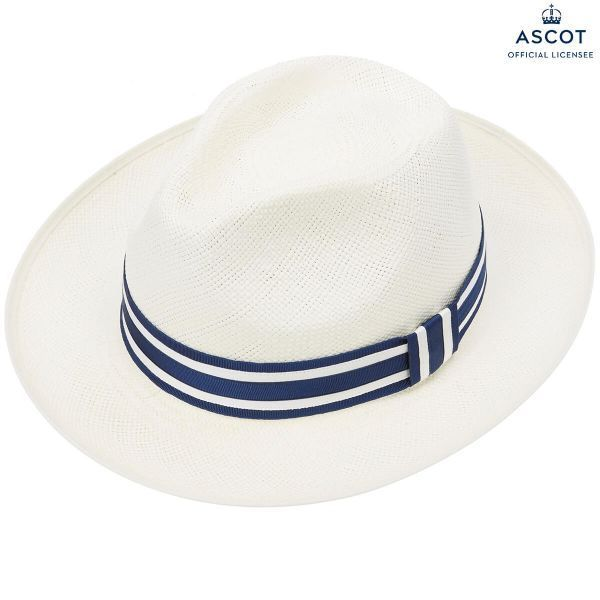 Ethan Preset Panama Hat With Navy & White Striped Band
