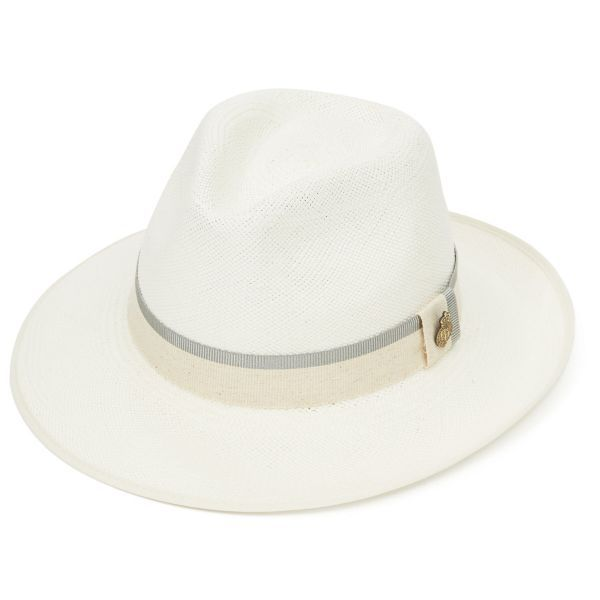 Classic Down Brim Panama Hat with Grey Zoe Band - Bleached
