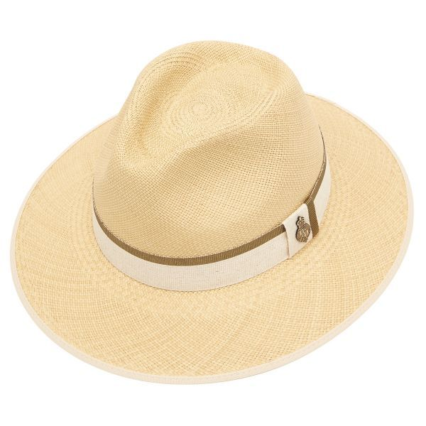 Classic Down Brim Panama Hat with Khaki Zoe Band - Natural