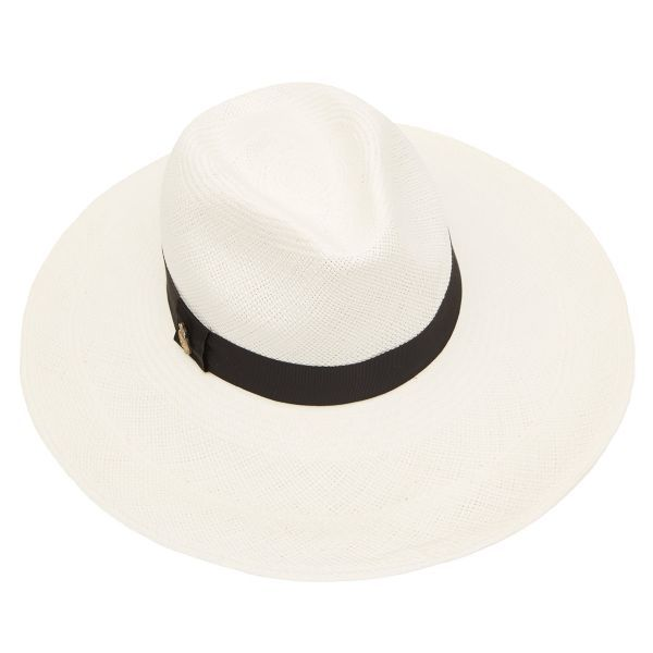 Jessica Wide Brim Panama Hat with Navy Band - Bleached