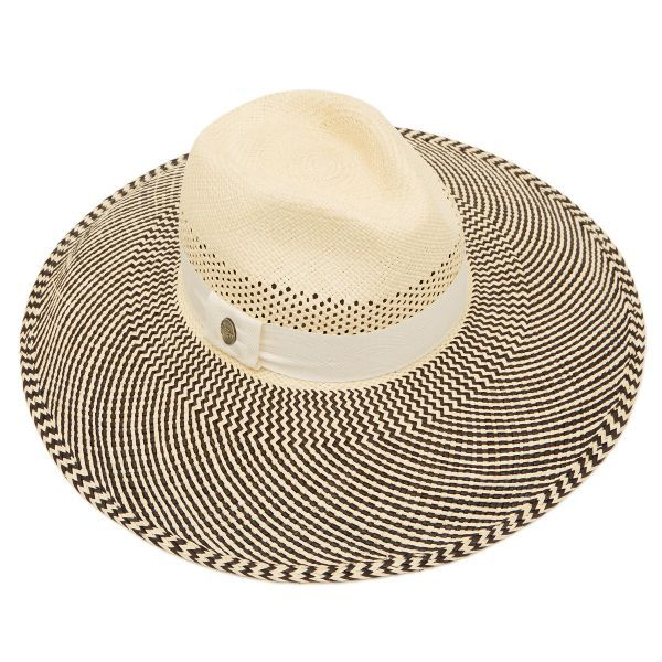 Frida Wide Brim Panama Hat - Black & Stone