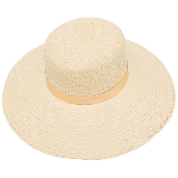 Ellie Wide Brim Panama Hat with Rose Gold Leather Band - Stone