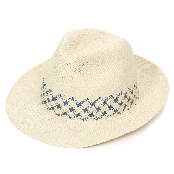 James Weaved Panama Hat - Stone & Blue