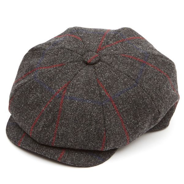 8 Piece Tweed(Z538) Baker Boy Flat Cap - Charcoal