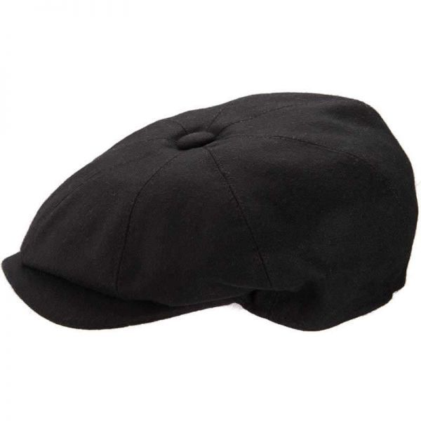 8 Piece Baker Boy Melton Wool Flat Cap - Black