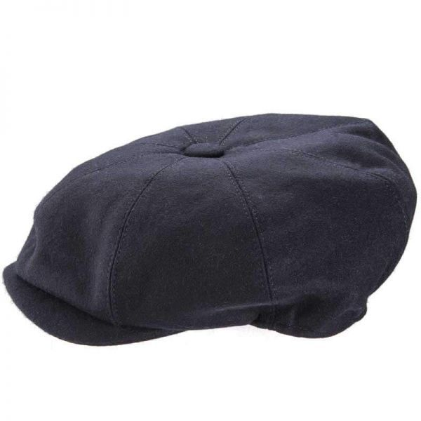 8 Piece Baker Boy Melton Wool Flat Cap - Navy