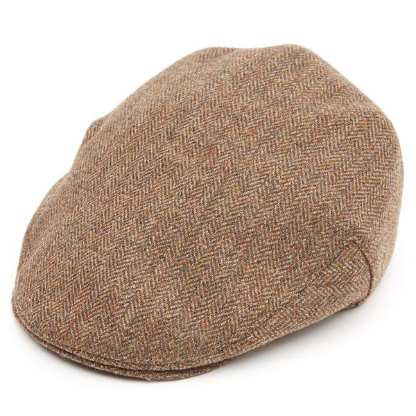 Brown Herringbone Tweed Z524 Balmoral Flat Cap