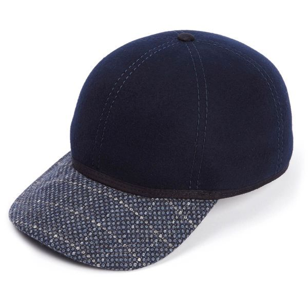The Kit Ball Cap With Blue Reflective Peak - Navy
