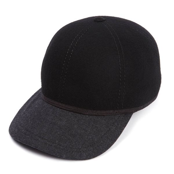 The Kit Ball Cap With Soft Charcoal Wool Peak - Black