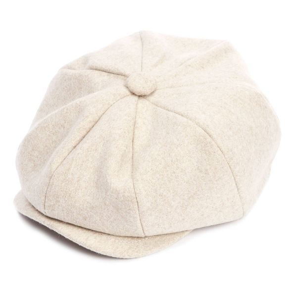 The Payne Baker Boy Wool Flat Cap - Pebble