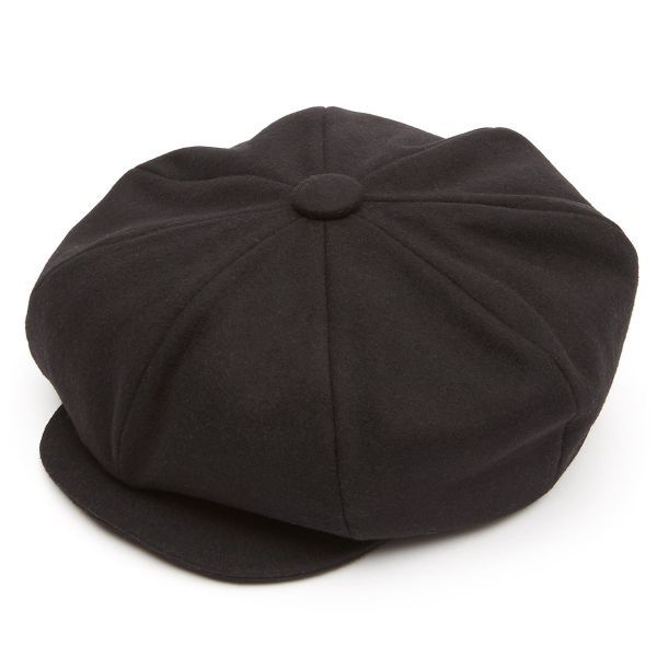 Oversized 8 Piece Baker Boy Melton Wool  Flat Cap - Black