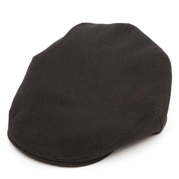 Balmoral Melton Wool Flat Cap - Black