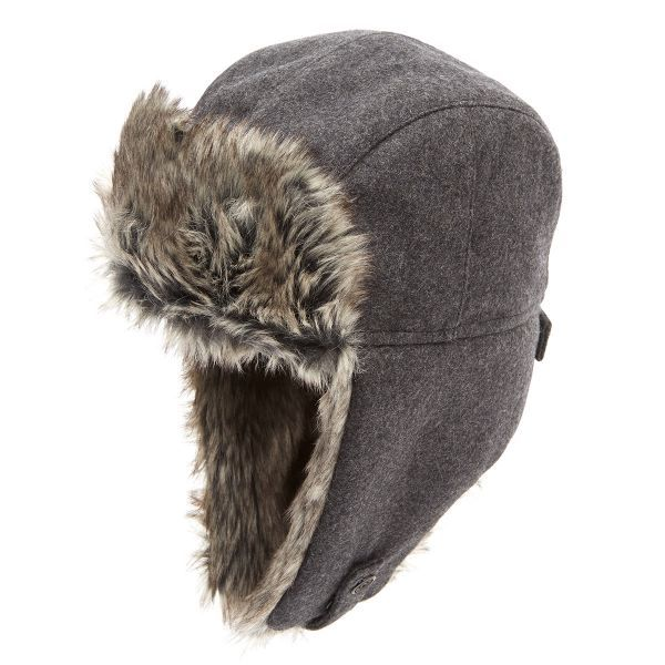 Trapper Melton With Shearling Ears Grey