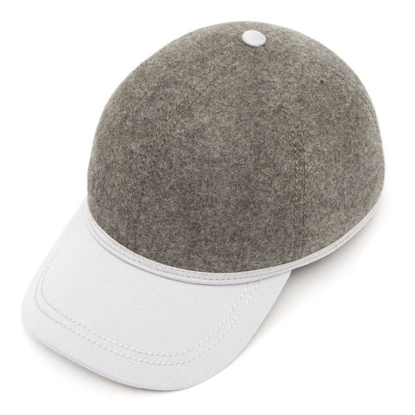 British Ball Cap Satin Wool Peak - Grey Mix