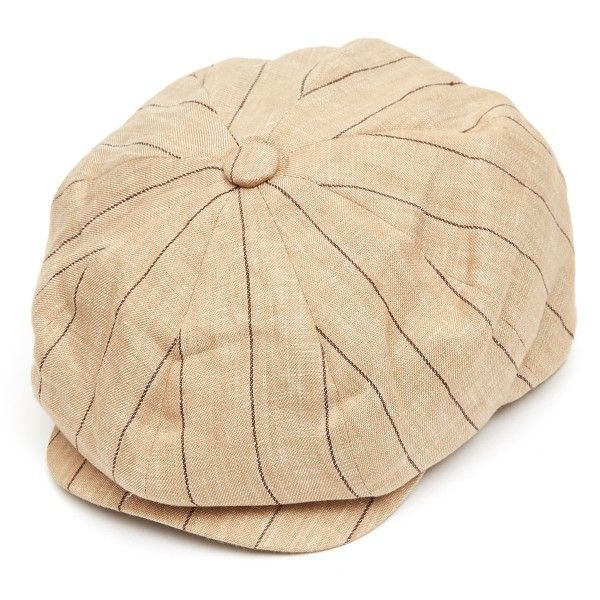 8 Piece Baker Boy Striped Linen Flat Cap - Stone