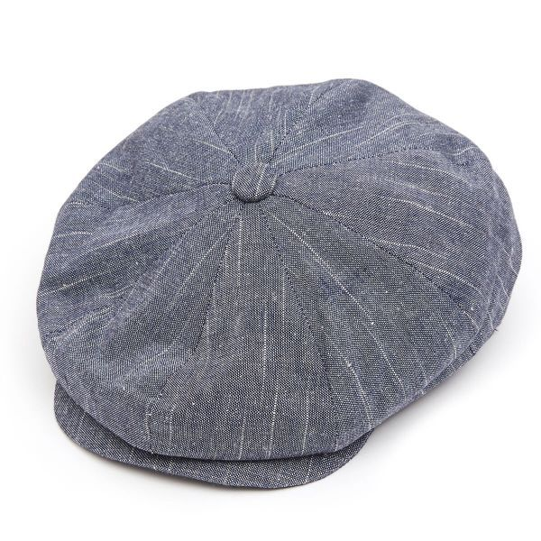 8 Piece Linen Mix Flat Cap - Navy