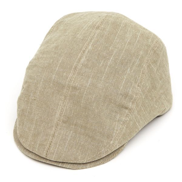 Tailored Driver Flat Cap in Linen Mix - Khaki