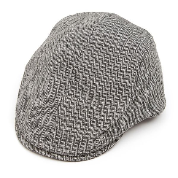 Tailored Driver Flat Cap in Linen  Mix Herringbone - Black