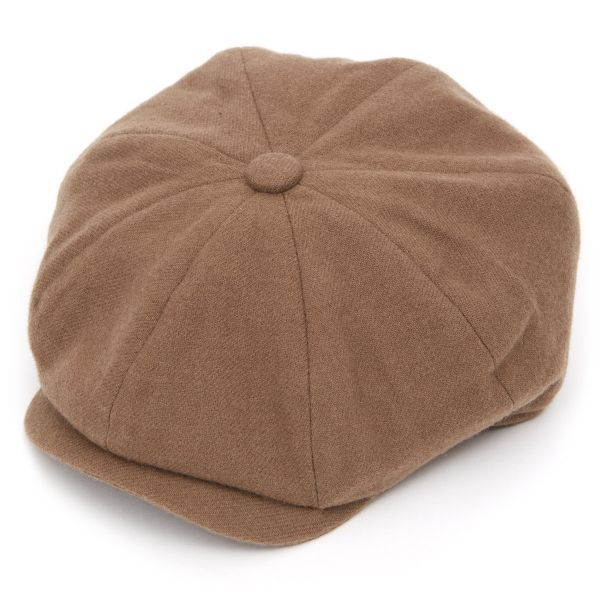 Josh 8 Piece Lambs Wool Flat Cap - Brown