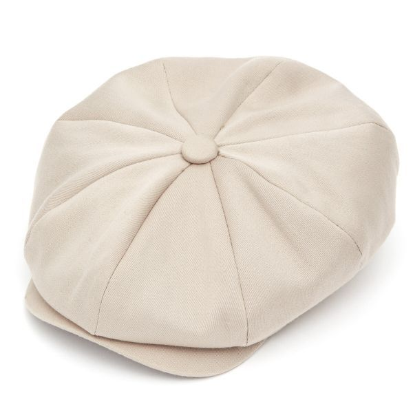 Ellis 8 Piece Satin Wool Flat Cap - Bisque
